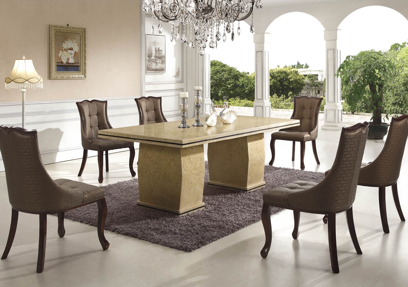 catania marble dining table with 8 chairs marble king. Black Bedroom Furniture Sets. Home Design Ideas