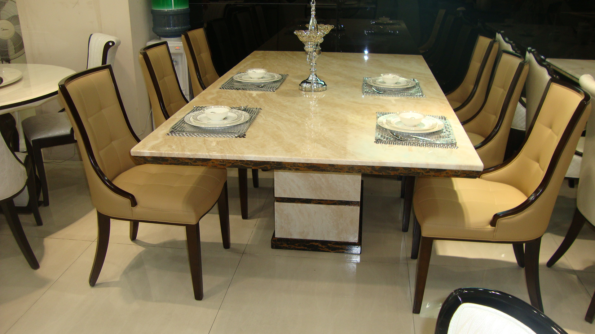 asana marble dining table with 8 chairs marble king. Black Bedroom Furniture Sets. Home Design Ideas