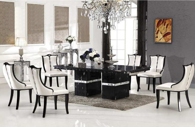 Arezzo marble dining table with 8 chairs marble king - King furniture dining table ...