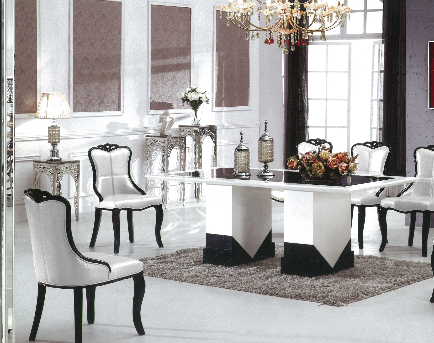 barcelona marble dining table with 8 chairs marble king. Black Bedroom Furniture Sets. Home Design Ideas