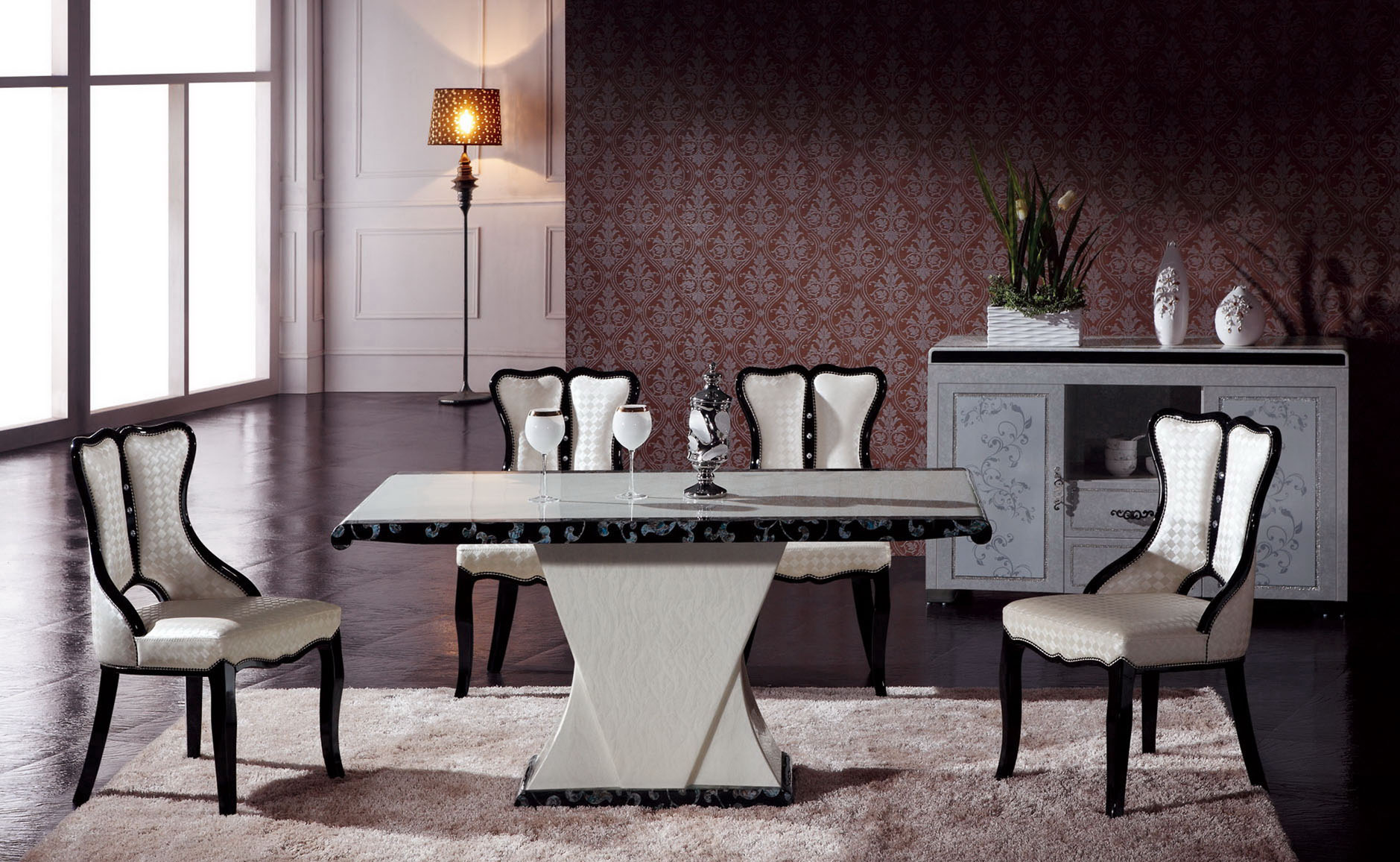 Marble Dining Table And 6 Chairs: Maiyar Marble Dining Table With 6 Chairs
