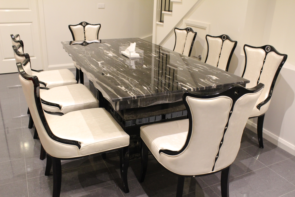 Arezzo marble dining table with 8 chairs marble king for 8 chair dining table