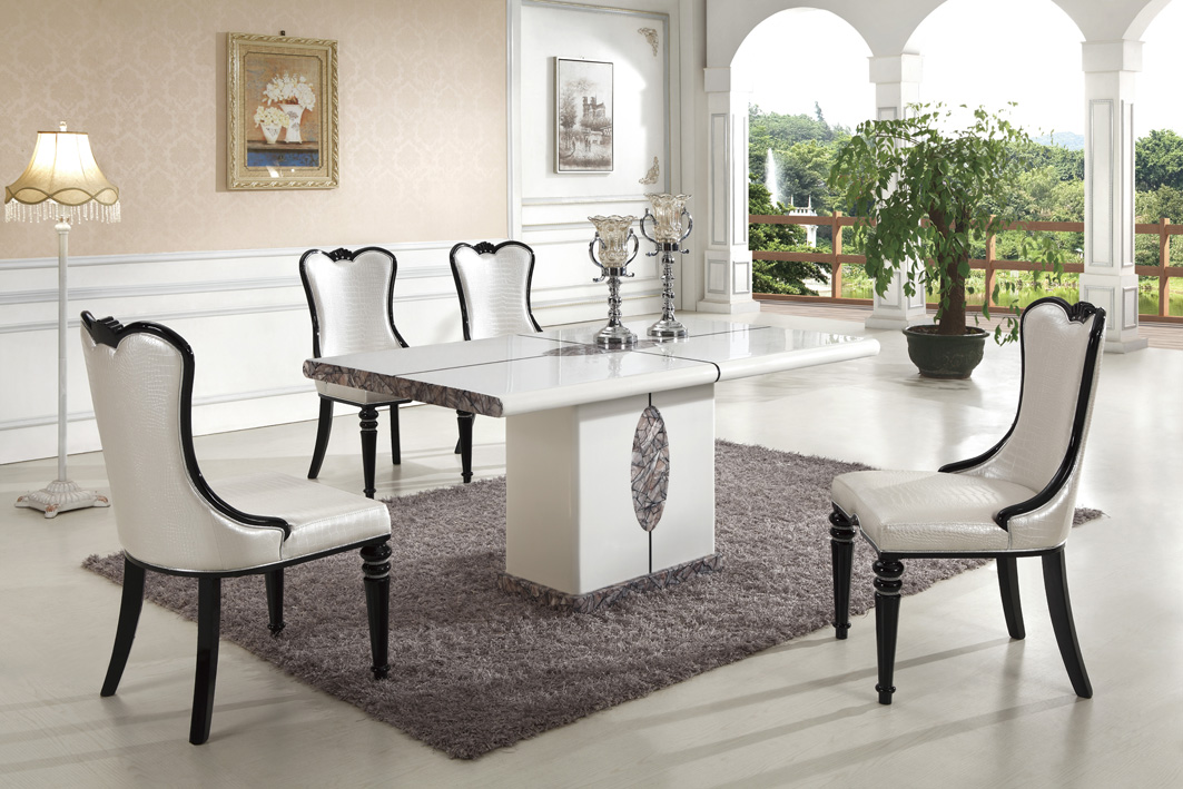 ipoh marble dining table with 8 chairs marble king. Black Bedroom Furniture Sets. Home Design Ideas