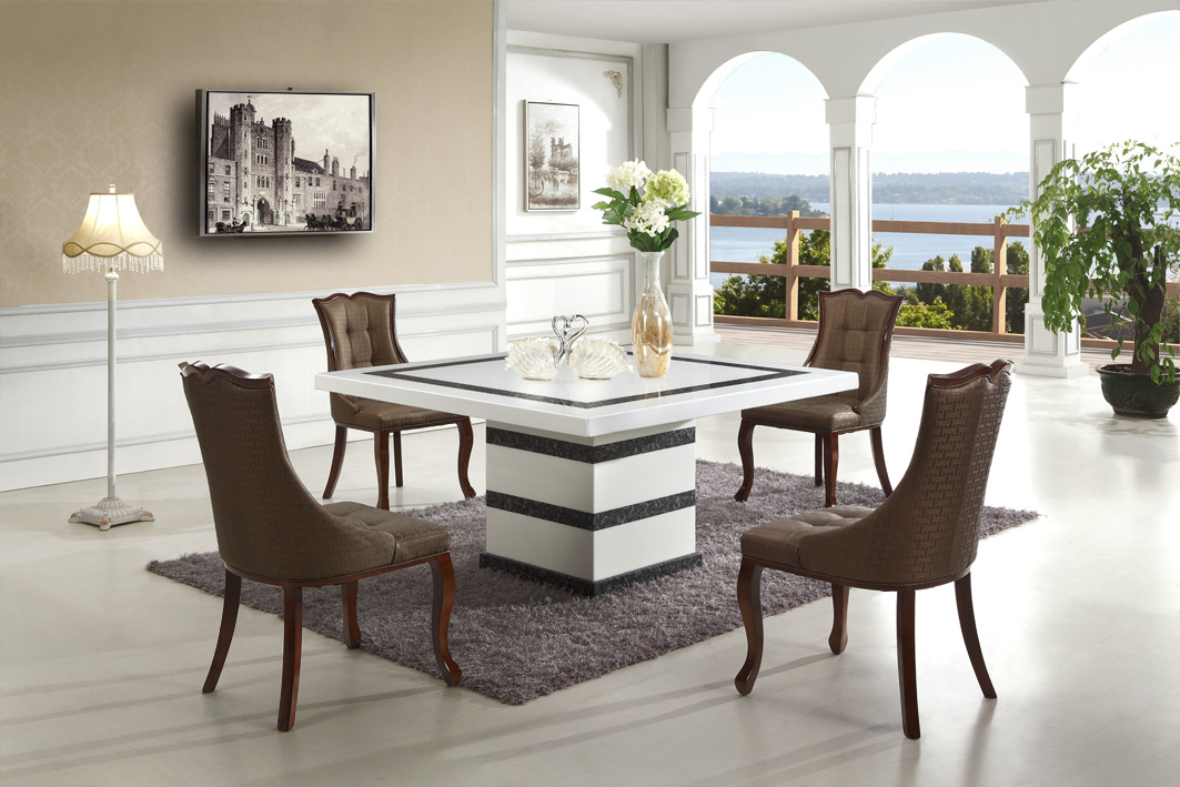 canar marble dining table with 8 chairs marble king. Black Bedroom Furniture Sets. Home Design Ideas
