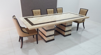 Asina Marble Dining Table With 8 Chairs