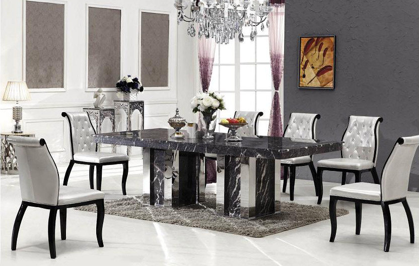 Bologna Marble Dining Table With 8 Chairs Grey Marble