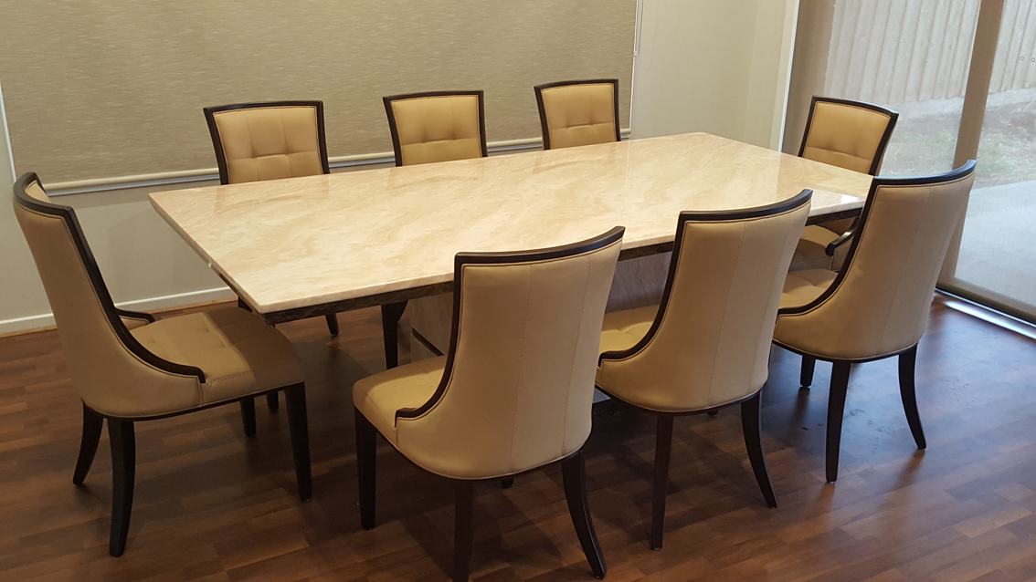 Asana Marble Dining Table with 8 Chairs | Marble King