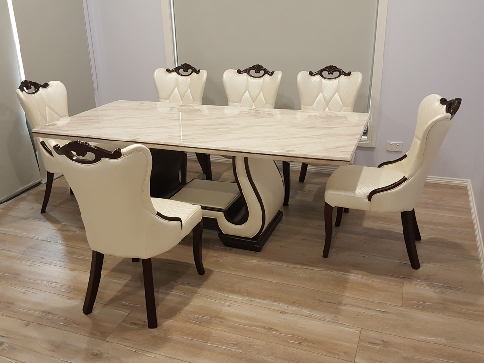Ferrara Marble Dining Table With 8 Chairs Marble King